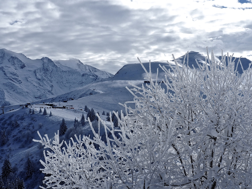 Megève en hiver, en haut du Mont d'Arbois