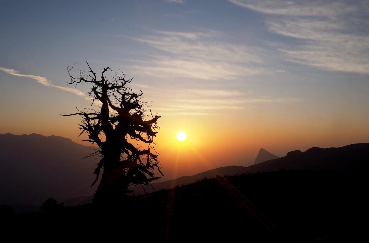 Voyage à Oman, Off Road, fantastique coucher de soleil, Djebel Shams